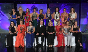 12 November 2016; The 2016 TG4 Ladies Football All Stars, back row, from left, Sinéad Goldrick of Dublin, Mary Hulgraine of Kildare, Orla Finn of Cork, Sinéad Aherne of Dublin, Ciara McAnespie of Monaghan, Carla Rowe of Dublin, Ciara O'Sullivan of Cork, Briege Corkery of Cork, and Noelle Healy of Dublin, with front, from left, Leah Caffrey of Dublin, Bríd Stack of Cork, Marie Ambrose of Cork, Alan Esslemont, Ard Stiúrthóir, TG4, Marie Hickey, President, LGFA, Deirdre O'Reilly of Cork, Gráinne McNally of Monaghan, and Fiona McHale of Mayo, at the TG4 Ladies Football All Stars awards in Citywest Hotel in Dublin. Photo by Brendan Moran/Sportsfile *** NO REPRODUCTION FEE ***