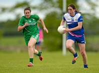 23 May 2015; Niamh Richardson, Munster, in action against Kim Flood, Leinster. MMI Interprovincial Championship Shield Final, Munster v Leinster. Coralstown Kinnegad GAA, Kinnegad, Co. Wesmeath. Picture credit: Piaras Ó Mídheach / SPORTSFILE *** NO REPRODUCTION FEE ***