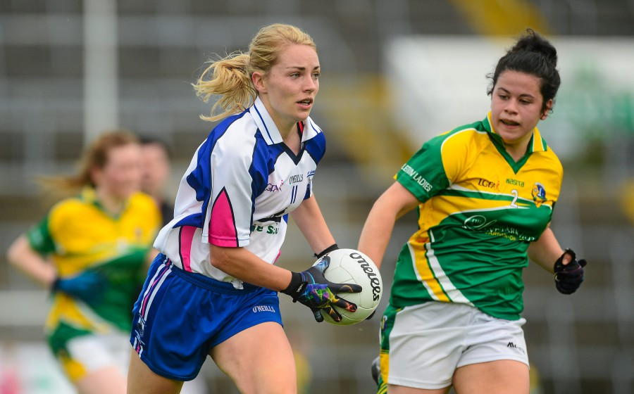 29 August 2015; Marie Delahunty, Waterford, in action against Claire Beirne, Leitrim. TG4 Ladies Football All-Ireland Intermediate Championship, Semi-Final, Leitrim v Waterford, Gaelic Grounds, Limerick. Picture credit: Piaras Ó Mídheach / SPORTSFILE *** NO REPRODUCTION FEE ***