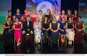 14 November 2015; The 2015 TG4 Ladies Football All Stars, back, from left, Cora Courtney, Monaghan, Cora Staunton, Mayo, Carla Rowe, Dublin, Valerie Mulcahy, Cork, Lyndsey Davey, Dublin, Aimee Mackin, Armagh, Rena Buckley, Cork, Vera Foley, Cork, Sinead Finnegan, Dublin, Sinead Goldrick, Dublin, with front, from left, Linda Martin, Monaghan, Marie Ambrose, Cork, Pól O Gallchóir, Ceannsaí, TG4, Helen O'Rourke, Chief Executive, LGFA, Dr. Rhona Mahony, Master of the National Maternity Hospital, Holles St, Dublin, Marie Hickey, President, LGFA, Briege Corkery, Cork, Geraldine O'Flynn, Cork and Aislinn Desmond, Kerry. 2015 LGFA TG4 Ladies Football Allstar Awards, CityWest Hotel, Saggart, Co. Dublin. Picture credit: Brendan Moran / SPORTSFILE