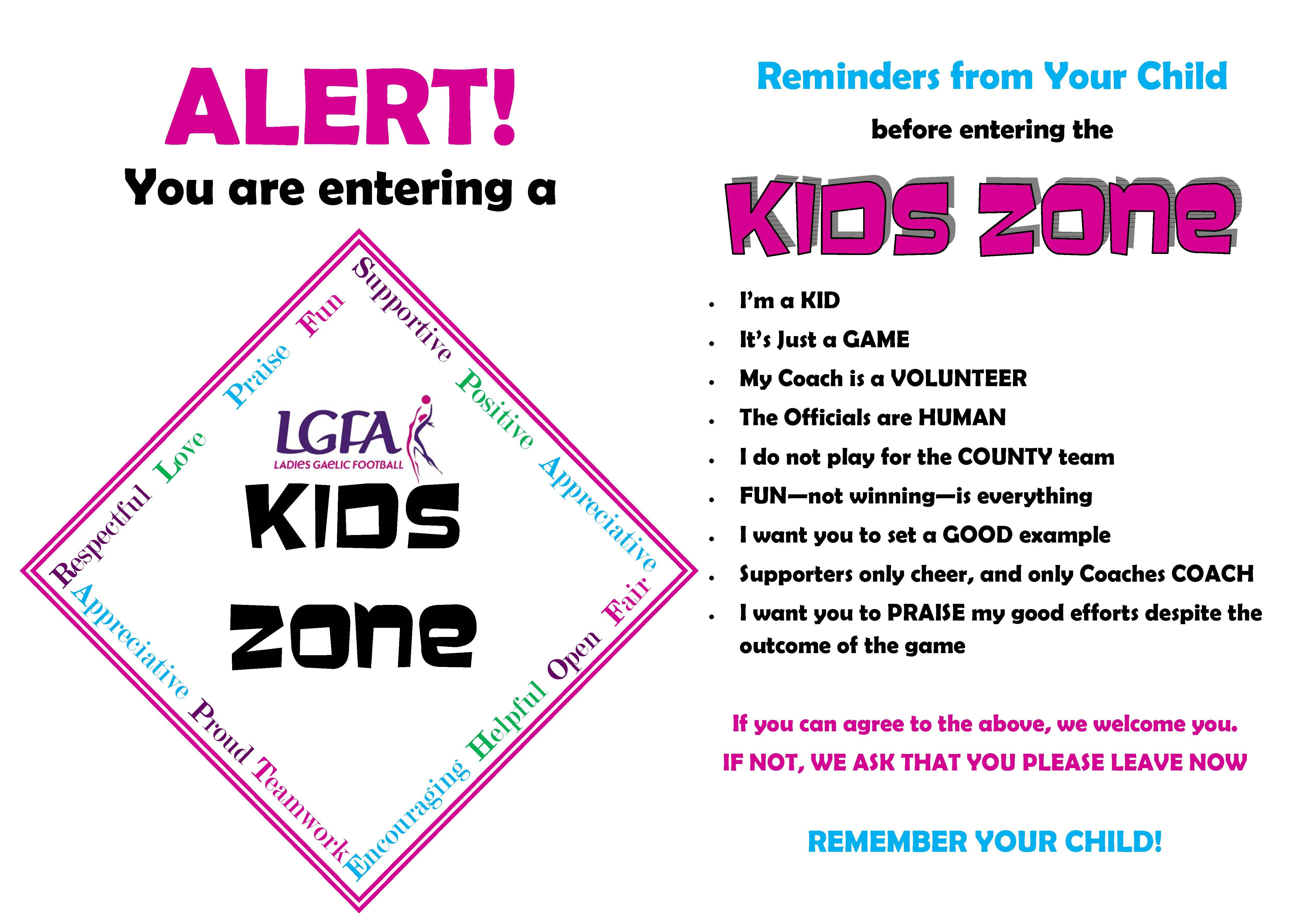 LGFA Kidzone Sign