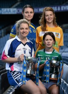 26 April 2016; Lidl Ladies National Football League  captains, clockwise from left, Sinead Ryan, Waterford, Edel Hanley, Tipperary, Jenny McCavana, Antrim, and Dymphna O'Brien, Limerick, at the Lidl Ladies Football National League Division 3 & 4 Media Day. Croke Park, Dublin. Picture credit: Sam Barnes / SPORTSFILE *** NO REPRODUCTION FEE ***