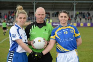 30 April 2016; Referee Gavin Corrigan with Waterford captain Sinead Ryan and Tipperary captain Edel Hanley. Lidl Ladies Football National League Division 3 Final, Tipperary v Waterford, Clane, Co. Kildare. Picture credit: Matt Browne / SPORTSFILE *** NO REPRODUCTION FEE ***