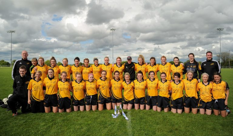 21 May 2016; The Ulster team with the cup following the MMI Ladies Football Interprovincial Football Cup Final, Ulster v Connacht, in Kinnegad, Co. Westmeath. Photo by Sam Barnes/Sportsfile *** NO REPRODUCTION FEE ***