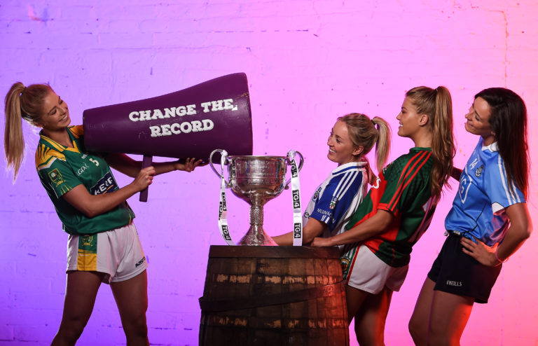 13 July 2016; Ladies Gaelic Football are set to Change the Record. Minister of State for Tourism and Sport, Patrick O'Donovan, T.D. launched the 2016 TG4 All Ireland Championships at Croke Park as the LGFA President, Marie Hickey announced that TG4 and the LGFA were joining forces to attempt to set a new attendance record for the TG4 All Ireland Championships. The previous record of 33,000 was set in 2001 when Laois played Mayo. The LGFA President also urged supporters of the game to start looking inwards to support the game rather than criticising a lack of media coverage. Pictured at the launch are, from left, Ciara Murphy, Kerry, Ciara McAnespie, Monaghan, Sarah Rowe, Mayo and Niamh McEvoy, Dublin. Photo by Brendan Moran/Sportsfile *** NO REPRODUCTION FEE ***