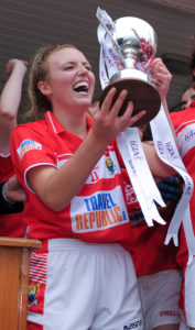1 August 2016; Captain of Cork Laura Cleary lifts the trophy following her team's victory during the All Ireland Ladies Football Minor 'A' Championship Final match between Cork and Dublin at Glennon Brothers Pearse Park in Longford. Photo by Seb Daly/Sportsfile *** NO REPRODUCTION FEE ***