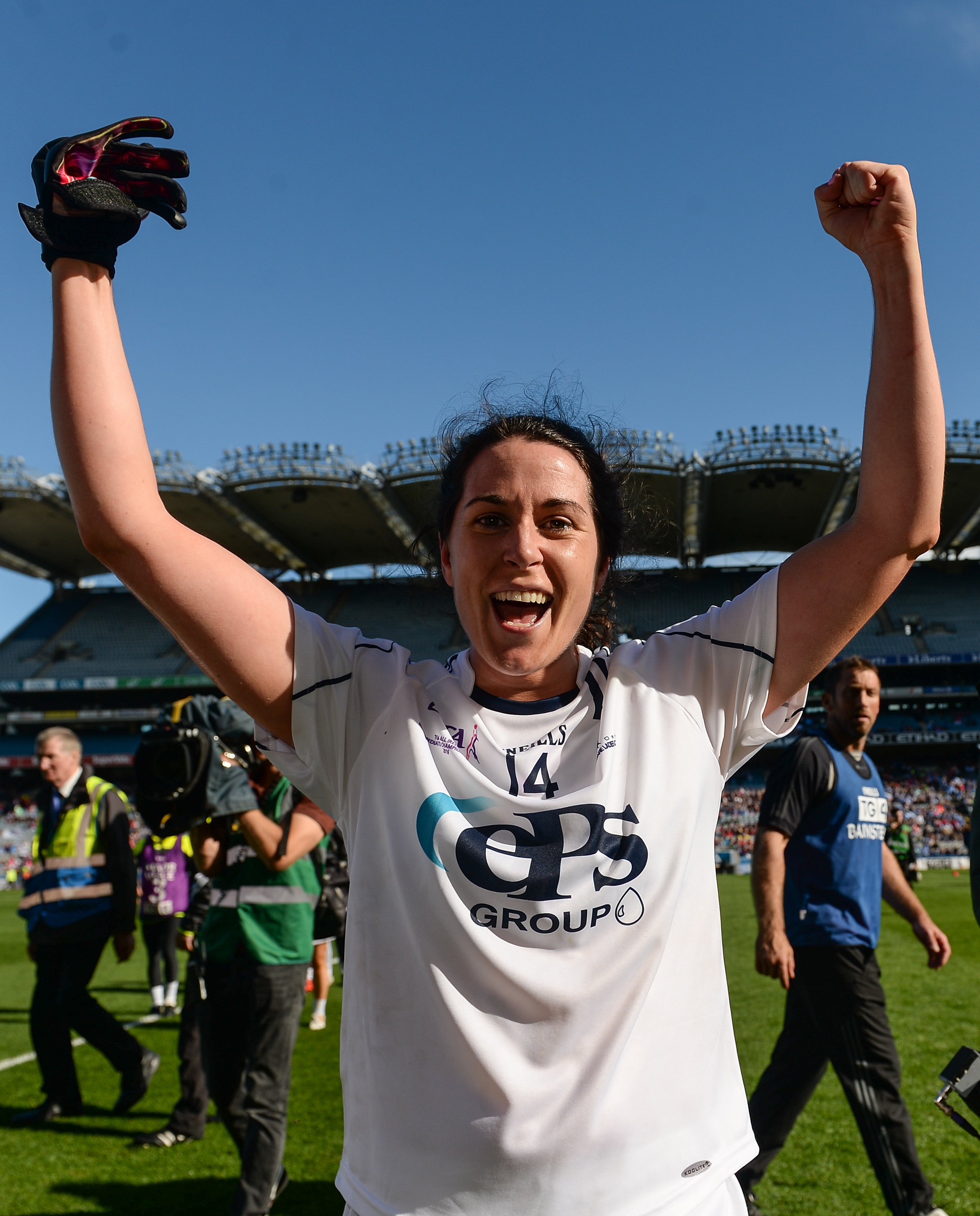 25 September 2016; Noelle Earley of Kildare celebrates after the TG4 Ladies Football All-Ireland Intermediate Football Championship Final match between Clare and Kildare at Croke Park in Dublin.  Photo by Piaras Ó Mídheach/Sportsfile *** NO REPRODUCTION FEE ***